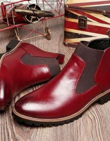 Men's Handmade Wine red Soft Genuine Leather British Style Men's Chelsea Boots