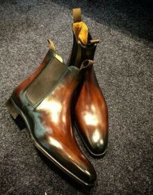 New Handmade Chelsea Tan Shaded Pure Leather Ankle Boots for Men's