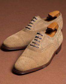 Men's Handmade Beige Suede Lace Up Shoes, Cap Toe Brogue Dress Formal Shoes