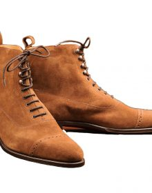 Men Tan Suede Cap Toe High Ankle Handmade Vintage Leather Lace Up Boots