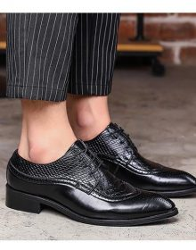 New Handmade Men Dress Shoe Pointed Black Oxfords Shoes Lace Up Formal Shoes
