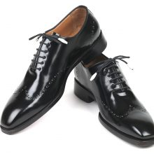New Handmade Goodyear Welted Wingtip Oxfords Black Polished Leather