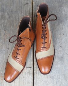 New Men's Handmade Ankle High Beige Tan Cap Toe Lace Up Leather Dress Boots
