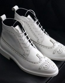 White Color High Ankle Stylish Wing Tip Genuine Leather Handmade Men Boots