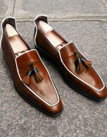 New Handmade Men's Loafer Shoes, Men Brown Leather Loafer Slip Tassels Casual Sh