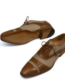 New Handmade Mens Camel & Natural Lizard & Linen Fabric Oxfords Shoes
