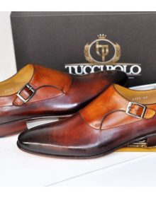 LUXURY MENS HANDMADE TWO TONE BROWN ITALIAN LEATHER SHOE