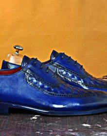 NEW HANDMADE HANDMADE BLUE WEAVE LACE-UP ITALIAN LEATHER LUXURY MENS SHOE