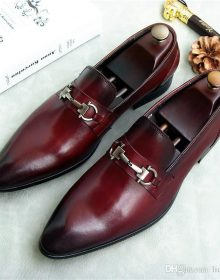 NEW Handmade Men's Burgundy Shoes, Men's New Leather Loafer Slip On Brogue Shoes