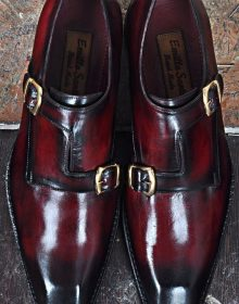 New Handmade Men's Classic Double Monk Strap Dress Shoes