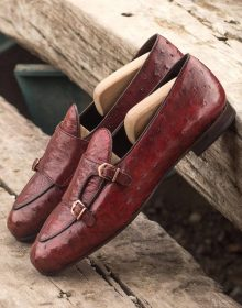 New Handmade Monk Red Genuine Ostrich with Dark Brown Painted Calf Shoes