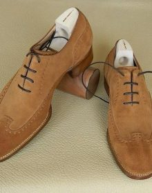 Men's Handmade Brown Suede Lace Up Shoes, Men Rounded Toe Brogue Dress Shoes