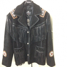 Men's New Western Black Suede Leather Jacket Fringes Beads