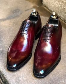 New Men's Handmade Burgundy Shaded Leather Dress Shoes