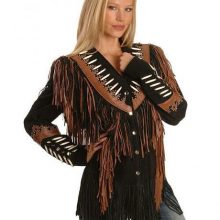 Women's New Native American Black Buckskin Suede Leather Fringes Biker Hippy Jacket / Coat
