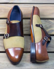 New Handmade Double Monks in Camel Luxe Suede, Dark Brown Painted Calf Shoes