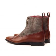 New Handmade Two Tone Brown Painted Calf Leather Boot