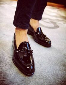 Handmade Men's Genuine Black Patent Leather Tassels Slip On Moccasins Shoes