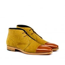 New Handmade Chukka Boot in Camel Luxe Suede Brown Painted Calf Leather