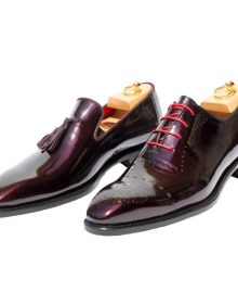 New Handmade Men Patent Leather Burgundy Dress Lace up Oxford with Beautiful Finish.