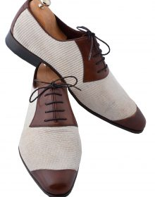 New HANDMADE BROWN LINEN MEN SHOES