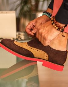 New Handmade Wingtip in Dark Brown and Camel Luxe Suede Shoes