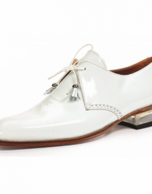 New Handmade Men White Patent Leather Derby Lace Up Dress Shoes