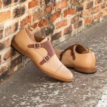 New Handmade Double Monk Crocodile Texture Grain Leather Shoes
