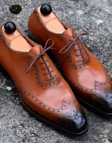 Handmade Men's Tan Color Two Tone Leather Shoes, Wing Tip Brogue Dress Formal