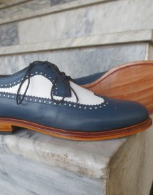 Men's Handmade White & Navy Color Leather Shoes, Wing Tip Brogue Dress Formal