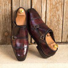 New Handmade Double Monk Italian Raw Crust Leather Burgundy Hand Patina Finish Shoes