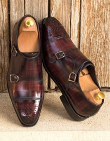 New Handmade Double Monk Italian Raw Crust Leather Burgundy Hand Patina Finish Shoes