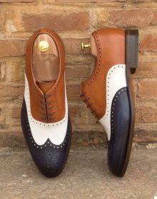 Men Oxford Three Tone Black White Brown Brogue Toe Wing Tip Leather Shoe
