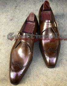Handmade Brown Leather Shoes, Monk Wing Tip Dress Formal Shoes Men Leather Shoes