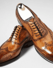 Oxford Shiny Brown Full Brogue Burnished Toe Wing Tip Real Leather Lace up Shoes