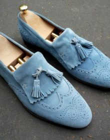New Handmade Men's Blue Suede Fringe Slip Ons Loafer Tassel Shoes
