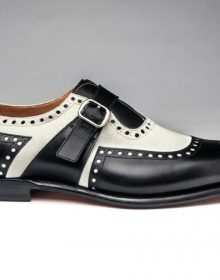 White Black Vintage Monk Rounded Toe Buckle Strap Genuine Leather Men Shoes
