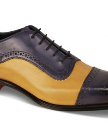 New Handmade Men French Blue Mustard Oxford Burnish Cap-Toe Shoes
