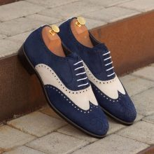 New Handmade Wingtip Navy Blue and White Calf Suede Shoes