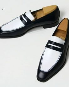 New Handmade Men's Black And White Leather Slip Ons Loafer Shoes