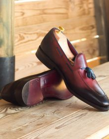 New Handmade Tassel Loafer in Red Painted Calf with Navy Blue Painted Calf Leather Shoes
