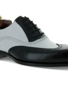 New Handmade Men Brooke Black White Leather Spectator Wingtip Shoes