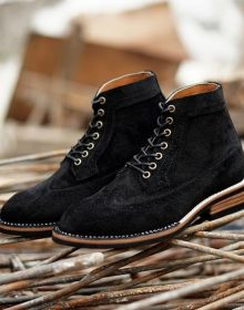 Handmade Men's Black Suede Leather High Ankle Matching Sole Magnificent Boots