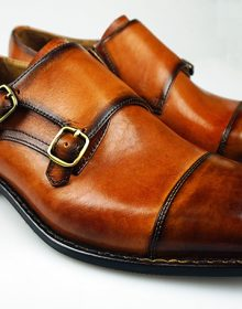 Men's Two Tone Brown Monk Double Buckle Strap Burnished Cap Toe Leather Shoes