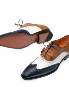 New Handmade Men's Brown / White / Blue Calf-Skin Leather Oxfords Shoes
