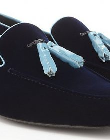 Suede Leather Blue Pointed Toe Made To Order Tassel Loafer Slip Ons Men Shoes