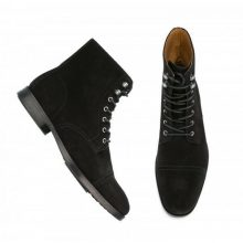 Men's Black High Ankle Rounded Cap Toe Real Suede Leather Lace Up Boots
