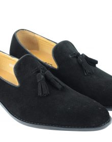 Black Suede Leather Made To Order Tassel Loafer Slip Ons Party Wear Men Shoes