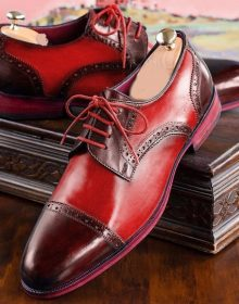 Red Maroon Rounded Cap Toe Oxford Party Wear Genuine Leather Men Handmade Shoes
