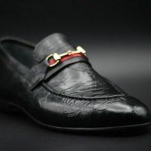 Handmade Men's Genuine Black Printed Leather Moccasin Formal Wear Shoes